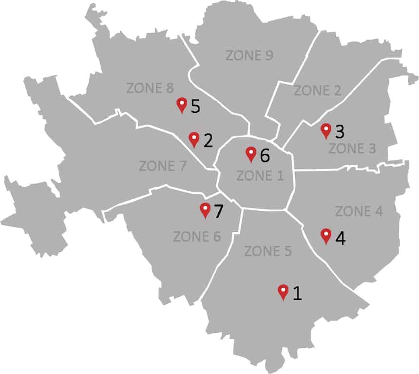map of the international schools in milan