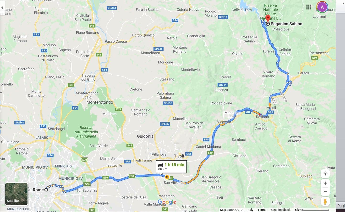 map rome to Paganico Sabino