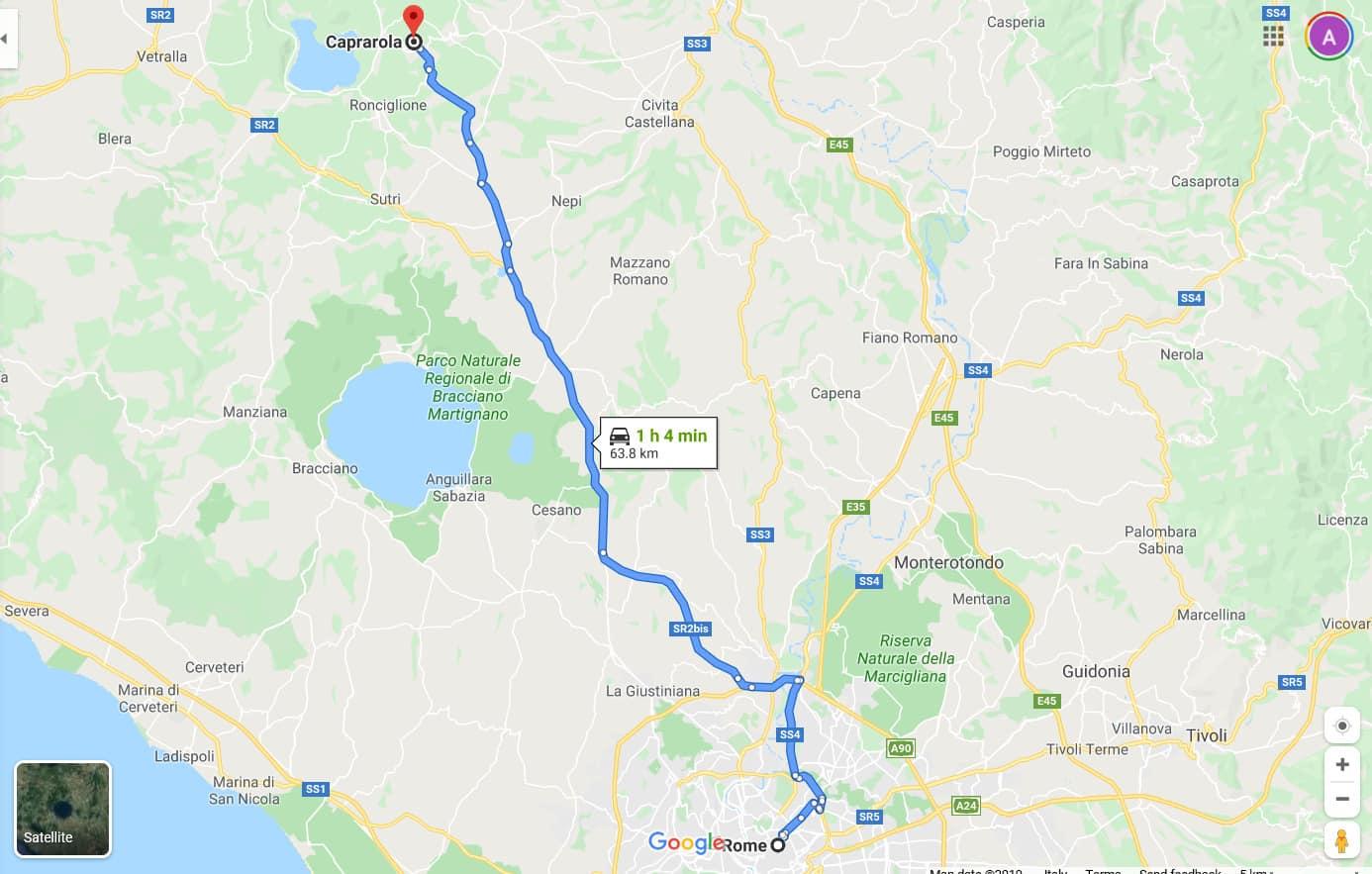 map rome to caprarola