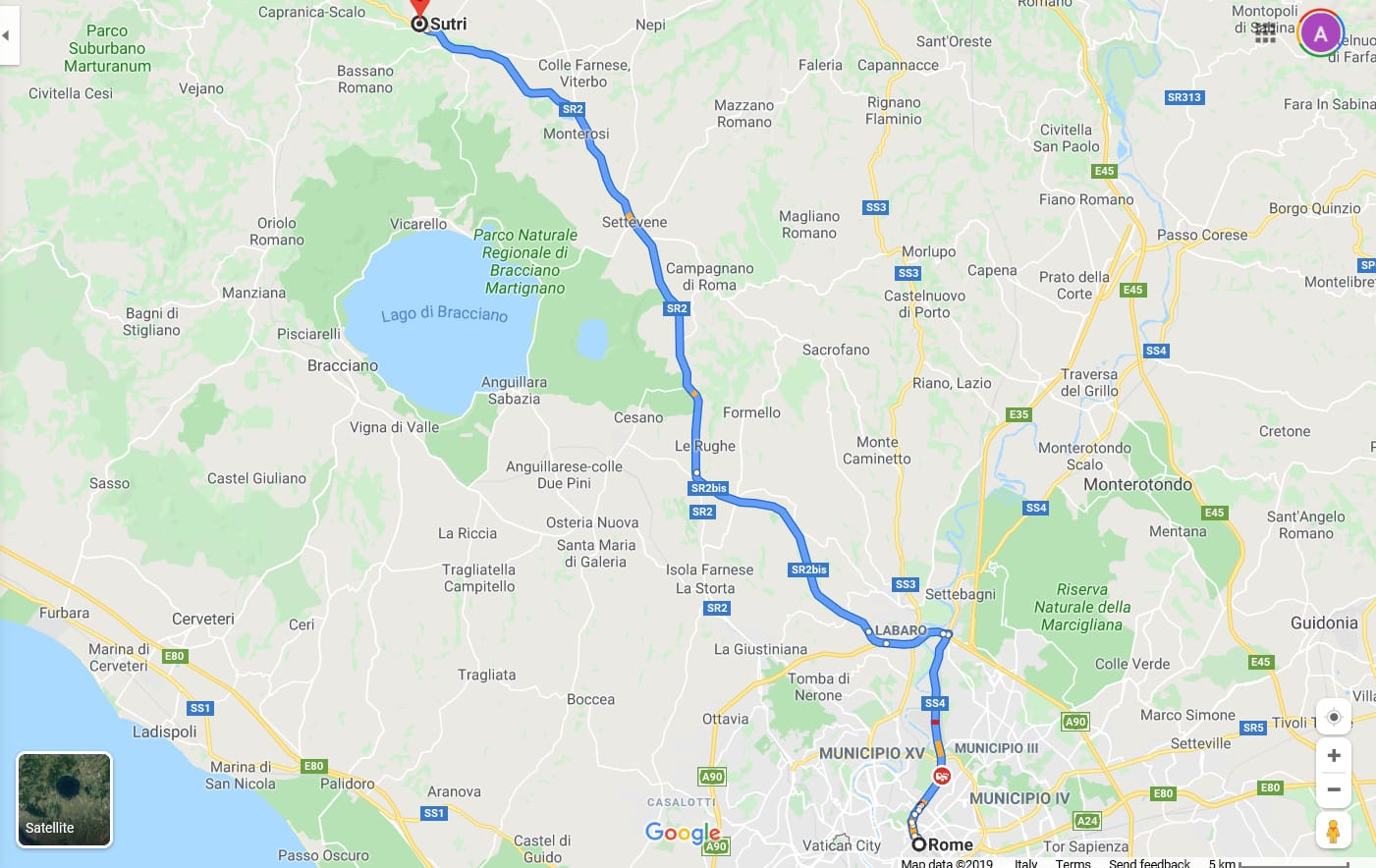 map rome to sutri