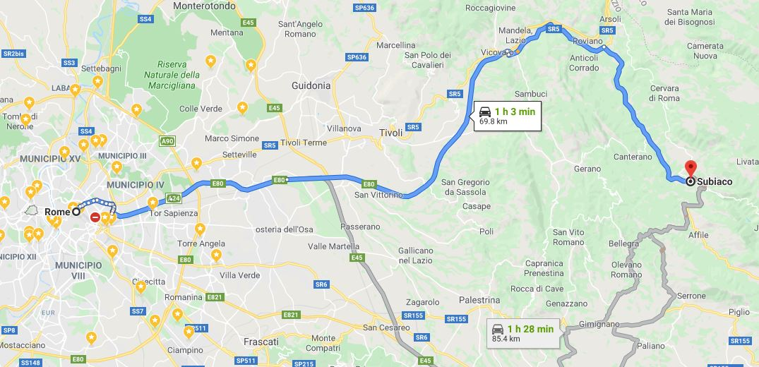 map rome to subiaco