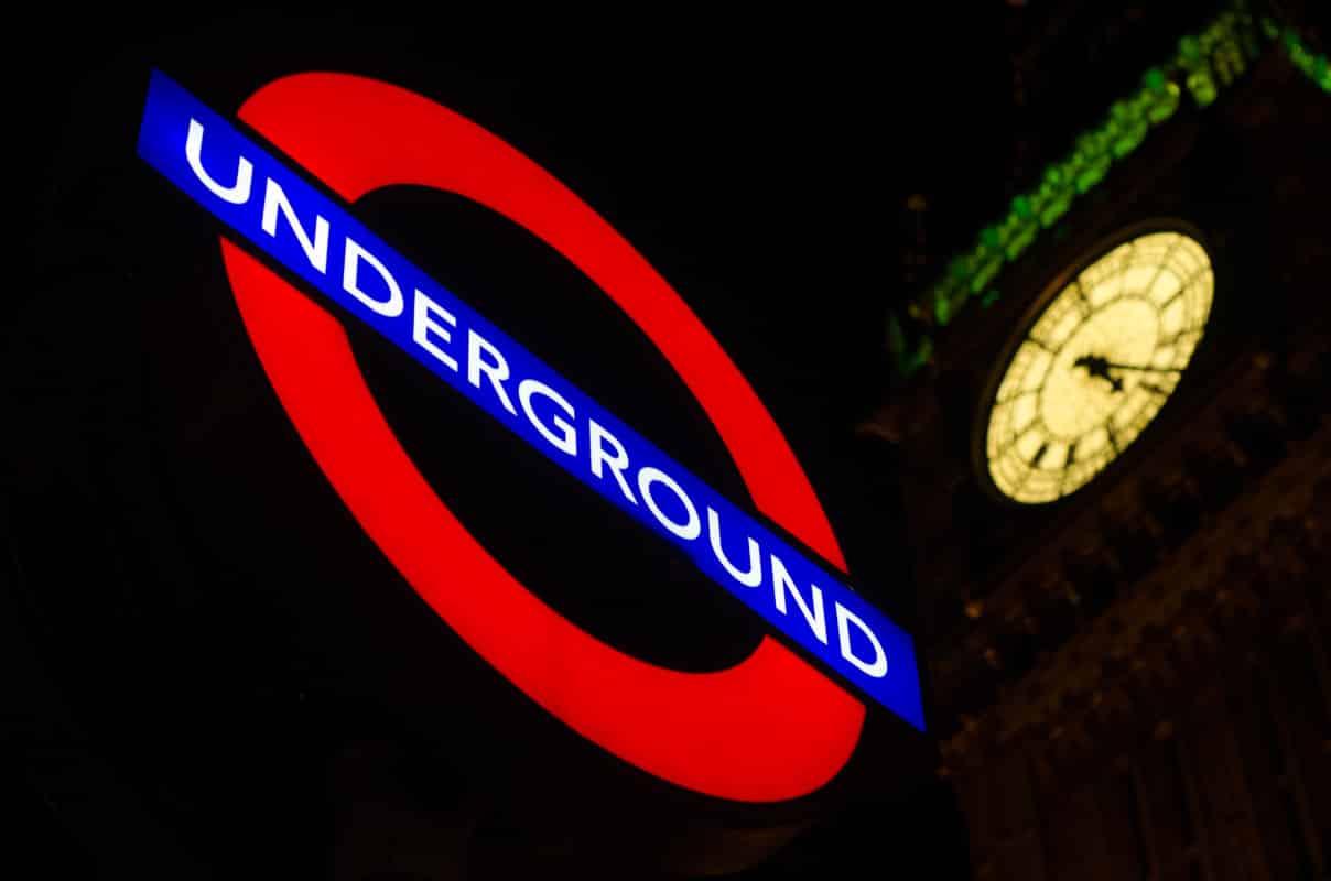 London's city metro underground sign with watchtower