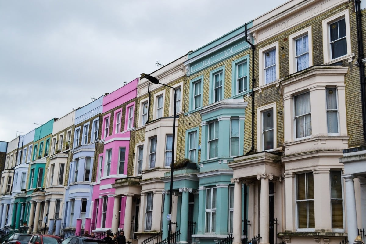 colourful apartments in a row at Notting Hill