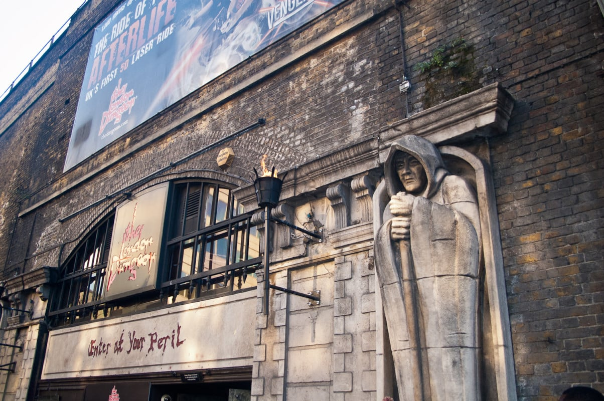 """""""The London Dungeon seen from outside with a statue of a man"""""""