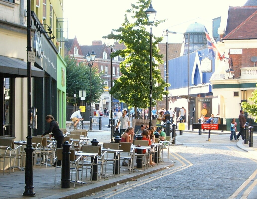 """""""Fulham region with cafes and people on a sunny day"""""""