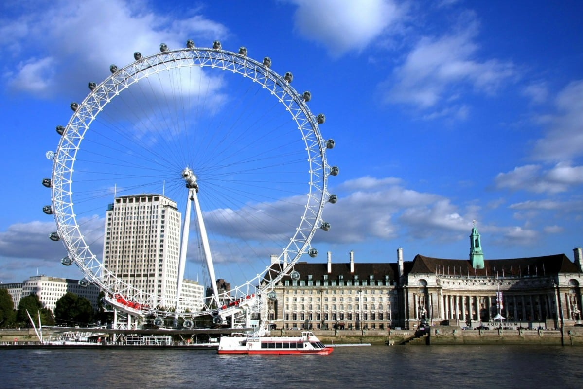 """London Eye and other buildings seen across the River Thames"""
