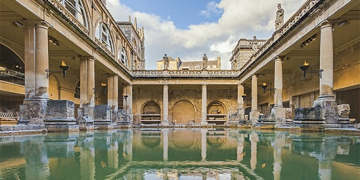 """""""Perspective view of the Roman Baths with blue sky"""""""