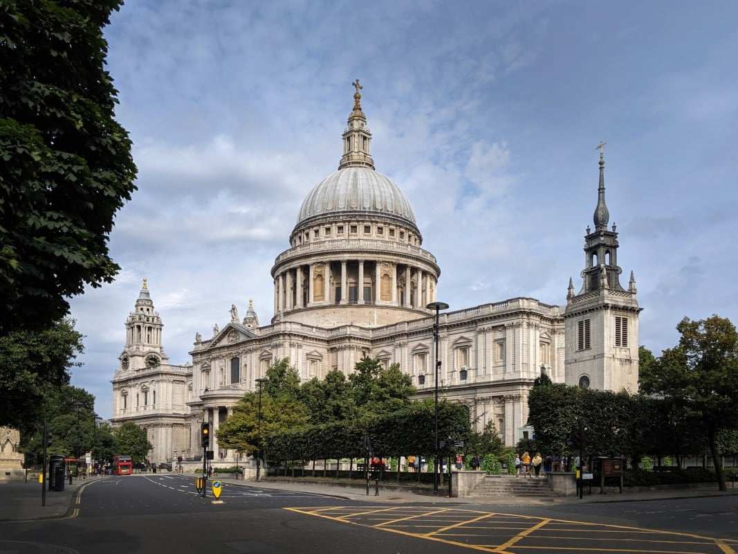 """""""St Paul's Cathedral viewed from the street"""""""