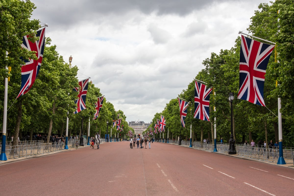 """""""The road of Mall in London with English flags, trees and people"""""""